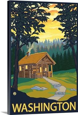 Cabin Scene - Washington: Retro Travel Poster