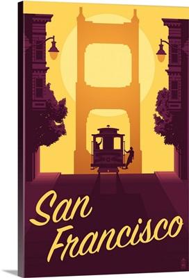 Cable Car and Sunset Bridge, San Francisco, California