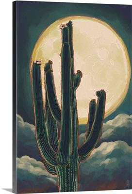 Cactus and Full Moon: Retro Poster Art