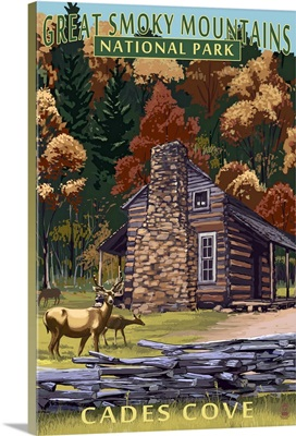 Cades Cove and John Oliver Cabin  - Great Smoky Mountains, TN: Retro Travel Poster