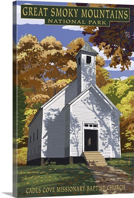 Cades Cove Baptist Church - Great Smoky Mountains National Park, TN: Retro Travel Poster