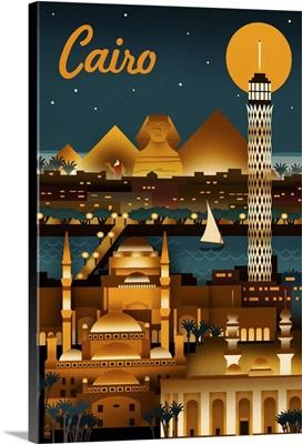 Cairo, Egypt, Retro Skyline