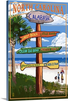 Calabash, North Carolina - Sign Destinations: Retro Travel Poster
