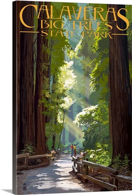 Calaveras Big Trees State Park - Pathway in Trees: Retro Travel Poster