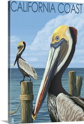California Coast - Pelicans: Retro Travel Poster