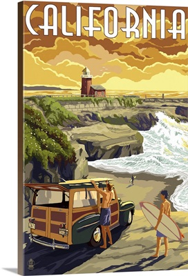 California Coast - Woody and Lighthouse: Retro Travel Poster