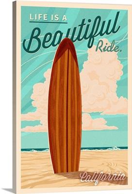 California, Life is a Beautiful Ride, Surfboard, Letterpress