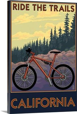 California - Mountain Bike Scene: Retro Travel Poster