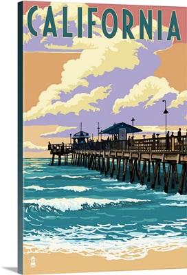 California - Pier Scene: Retro Travel Poster