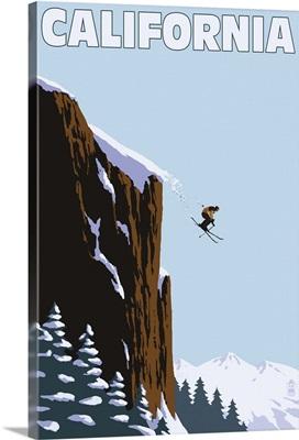 California - Skier Jumping: Retro Travel Poster