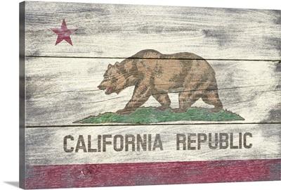 California State Flag on Wood