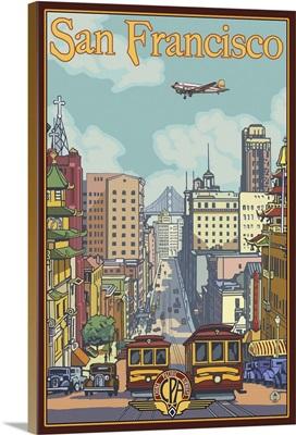 California Street - San Francisco, CA: Retro Travel Poster