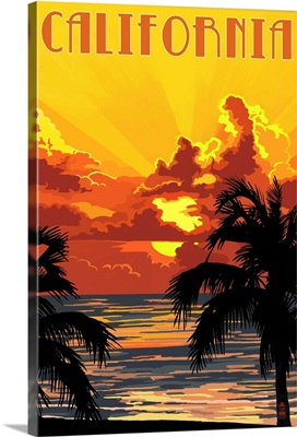 California - Sunset : Retro Travel Poster