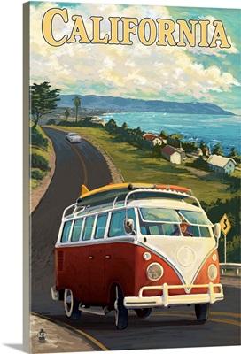 California VW Van - Coast Scene: Retro Travel Poster