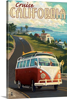 California - VW Van Cruise: Retro Travel Poster