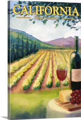 California Wine Country: Retro Travel Poster