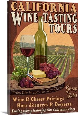 California - Wine Vintage Sign: Retro Travel Poster