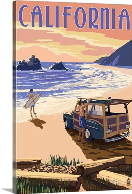 California - Woody On The Beach: Retro Travel Poster