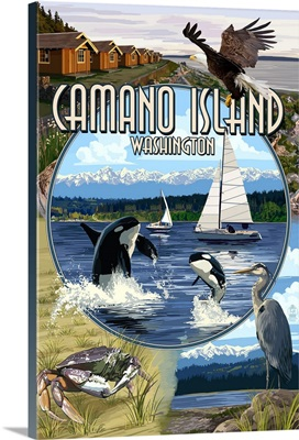 Camano Island, Washington - Montage: Retro Travel Poster