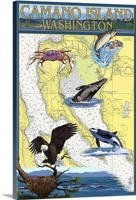 Camano Island, Washington - Nautical Chart: Retro Travel Poster