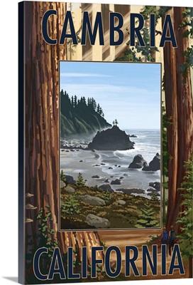 Cambria, California - Redwoods and Coast Scene: Retro Travel Poster