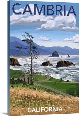 Cambria, California - Rocky Coastline: Retro Travel Poster