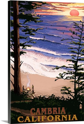 Cambria, California - Sunset and Surfers : Retro Travel Poster