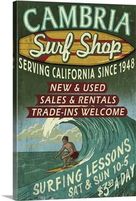 Cambria, California - Surf Shop Vintage Sign: Retro Travel Poster