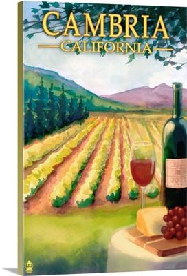 Cambria, California - Wine Country: Retro Travel Poster
