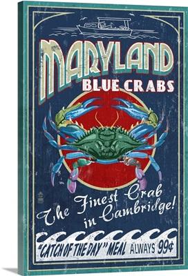 Cambridge, Maryland - Blue Crabs Vintage Sign: Retro Travel Poster