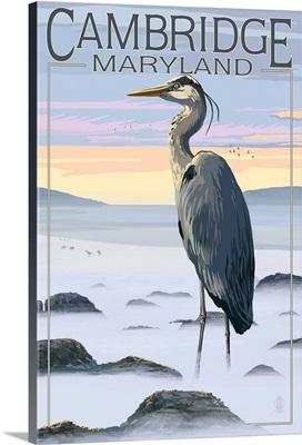 Cambridge, Maryland - Blue Heron and Fog: Retro Travel Poster