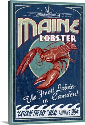 Camden, Maine - Lobster Vintage Sign: Retro Travel Poster