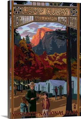 Camp Curry - Yosemite National Park, California: Retro Travel Poster