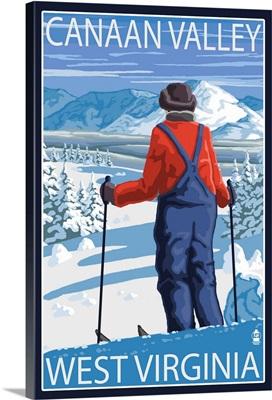 Canaan Valley, West Virginia - Skier Admiring View: Retro Travel Poster