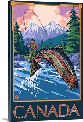 Canada - Angler: Retro Travel Poster
