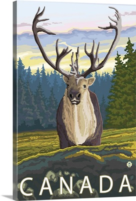 Canada - Caribou (Front): Retro Travel Poster