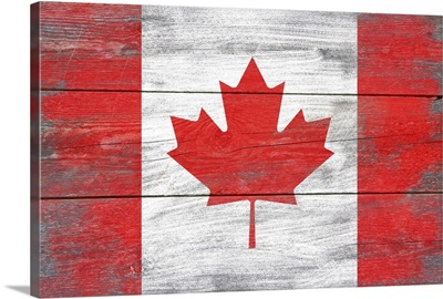 Canada Country Flag on Wood