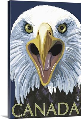 Canada - Eagle Face: Retro Travel Poster