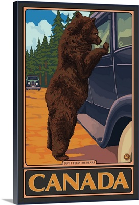 Canada - Hungry Bear: Retro Travel Poster
