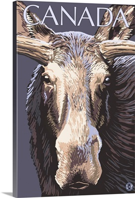 Canada - Moose Face: Retro Travel Poster