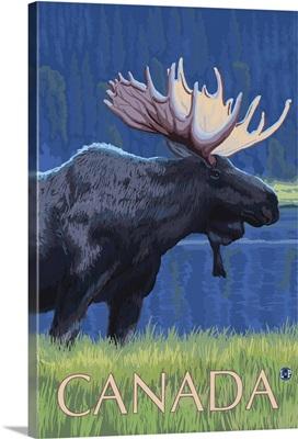 Canada - Night Moose: Retro Travel Poster