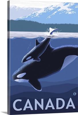 Canada - Orca and Calf: Retro Travel Poster
