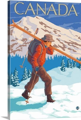 Canada - Skier Carrying Skis: Retro Travel Poster