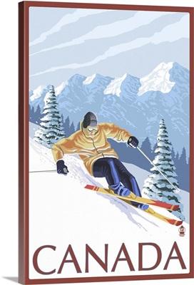 Canada - Skier: Retro Travel Poster