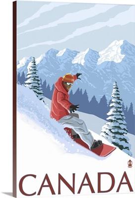 Canada - Snowboarder: Retro Travel Poster