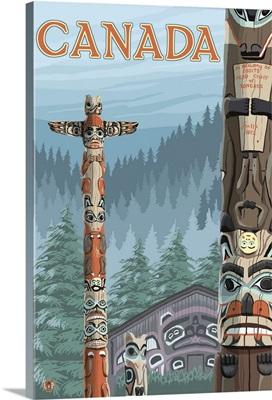 Canada - Totem Pole: Retro Travel Poster