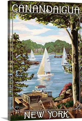 Canandaigua, New York, Lake View with Sailboats