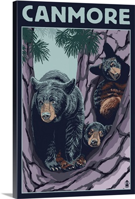 Canmore, Alberta, Canada - Black Bear and Cubs: Retro Travel Poster