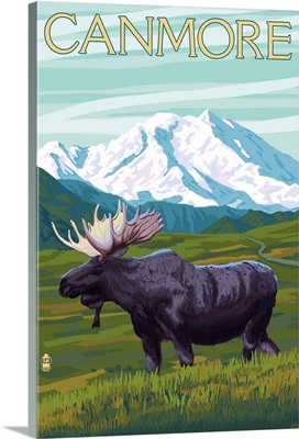 Canmore, Alberta, Canada - Moose and Mountain: Retro Travel Poster