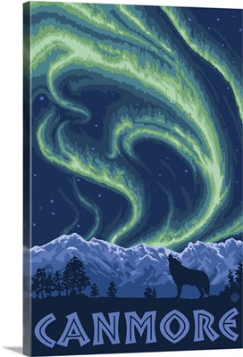Canmore, Alberta, Canada - Northern Lights: Retro Travel Poster